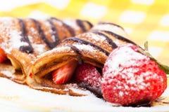 Pancake con le fragole Fotografia Stock