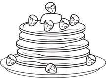 Pancake con le fragole che colorano pagina illustrazione vettoriale