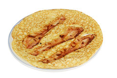 Pancake con pancetta affumicata. Fotografie Stock Libere da Diritti