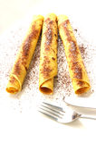 Pancake con zucchero e cacao immagine stock libera da diritti