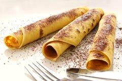 Pancake con zucchero e cacao Fotografie Stock