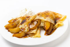 Pancake and cooked pears Royalty Free Stock Photos