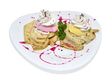 Pancake with cream. Crepe with ice cream and chocolate topping Stock Image