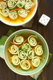 Pancake or Crepe Soup. Traditional German Flaedlesuppe and Austrian Frittatensuppe based on consomme with rolls or stripes of pancake or crepe garnished with Royalty Free Stock Images