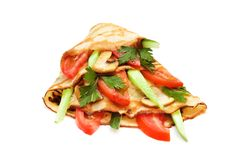 Pancake with cucumbers. And tomatoes isolated on white Royalty Free Stock Photography