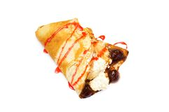 Pancake with curd and strawberries. Covered with syrup Royalty Free Stock Photos