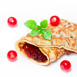 Pancake with currants Royalty Free Stock Photography