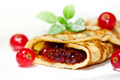 Pancake with currants Stock Images