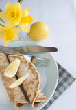 Pancake Day Shrove Fat Tuesday. Pancakes are popular in England on Pancake Day also called Shrove or Fat Tuesday when they are served with sugar and lemon juice Stock Images