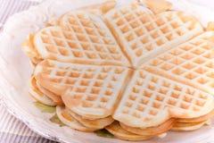 Pancake del cuore di Waffel Fotografia Stock