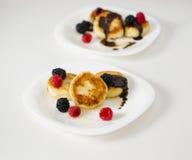 Pancake deliziosi del formaggio Fotografie Stock