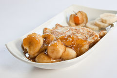 Pancake della banana della caramella Fotografia Stock