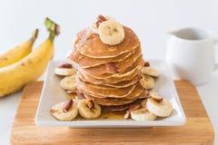 pancake della banana della mandorla Immagini Stock Libere da Diritti