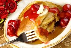 Pancake della ciliegia Immagine Stock Libera da Diritti