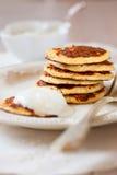 Pancake della crusca dell'avena Fotografia Stock Libera da Diritti