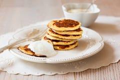 Pancake della crusca dell'avena Fotografie Stock
