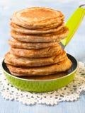Pancake della farina d'avena del grano intero Immagini Stock Libere da Diritti