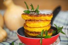 Pancake della zucca Fotografia Stock