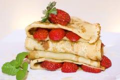 Pancake delle fragole Fotografia Stock