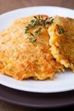Pancake dello zucchini e della carota Fotografie Stock