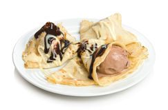 Pancake dessert with ice cream. And chocolate sauce Stock Photography