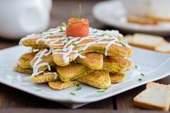 Pancake di color salmone dell'aperitivo Fotografia Stock Libera da Diritti