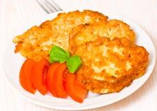 Pancake di patata con il pollo Immagine Stock Libera da Diritti
