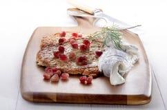 Pancake di patata con il seme del melograno Fotografie Stock Libere da Diritti