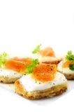 Pancake di patata e Salmon Canapes affumicato Immagini Stock Libere da Diritti