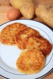 Pancake di patata verticali Immagini Stock