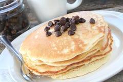 Pancake di pepita di cioccolato Fotografia Stock Libera da Diritti