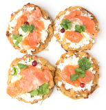 Pancake di Potatoe con il salmone Fotografie Stock Libere da Diritti