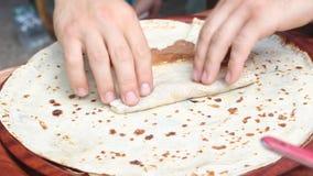 Pancake di Unrollers con cioccolato Immagine Stock Libera da Diritti