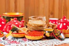 Pancake durante lo Shrovetide Fotografia Stock