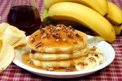 Pancake e banane Fotografie Stock
