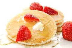 Pancake e fragole Immagini Stock Libere da Diritti