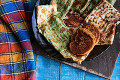 Pancake e frittelle russi Fotografie Stock