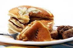 Pancake e salsiccia fotografia stock