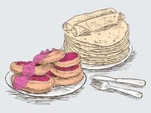 Pancake e torte di formaggio con inceppamento Fotografia Stock