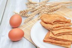 Pancake ed ingredienti Fotografia Stock Libera da Diritti