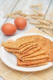Pancake ed ingredienti Immagini Stock