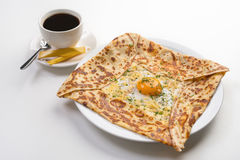 Pancake with egg and cheese Royalty Free Stock Images