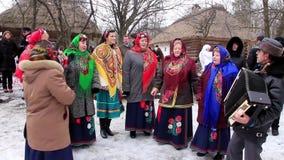 Pancake festival. Ukrainian folk song stock video footage