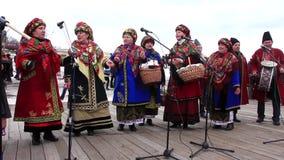Pancake festival. Ukrainian folk song stock video
