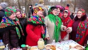 Pancake festival. Unique Ukrainian folk song stock video
