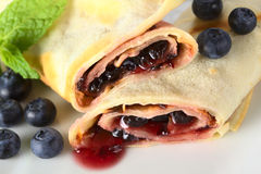 Pancake Filled with Blueberry Jam Stock Photo