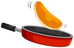 Pancake flipping on the pan. Illustration royalty free illustration
