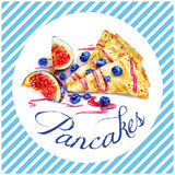 Pancake with fresh figs, blueberries and fruit syrup. Watercolor illustration of tasty food Royalty Free Stock Image