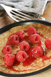 pancake  with fresh organic raspberries Royalty Free Stock Photography