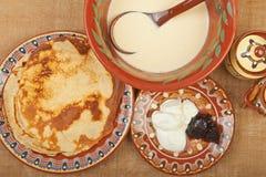Pancake fritti Fotografie Stock
